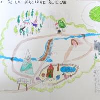 carte monde sorciere bleue Lucas 7 ans Leo 5 ans